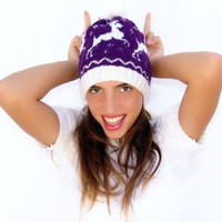 Deer pompom hat, knitted  purple white  fornicating animal deer patterned beanie, unisex