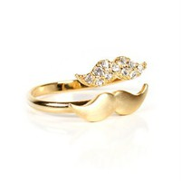 Gold Mini Mustache Ring