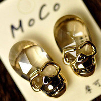 Retro Personality Crystal Skull Gemstone Gold Earrings
