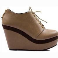 Beige / Brown Lace up Ankle boots booties Wedges Platforms EU size 35 - 39 by dithzzappear on Sense of Fashion