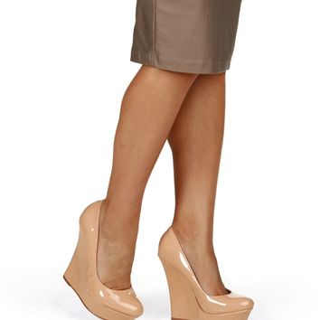 Nude Patent Wedges