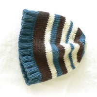 Knitted merino wool baby hat with blue, brown, cream stripes