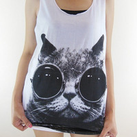 Cat Glasses Shirt -- Cat Shirt Animal T-Shirt White T-Shirt Women T-Shirt Tank Top Women Tunic Vest Sleeveless T-Shirt Cat T-Shirt Size M