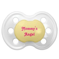 Yellow White Polka Dots Mommy's Angel Baby Pacifier from Zazzle.com