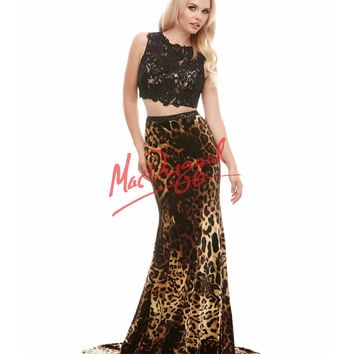 Cassandra Stone by Mac Duggal Two Piece Lace & Leopard Dress Prom 2015