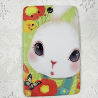 Gift Card Money Holder Bunny In the Garden Vinyl ID Holder