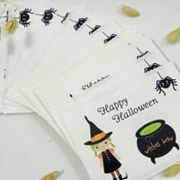 Happy Halloween Stickers Labels Personalized Qty 20 Large Square