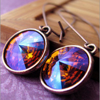 Iced Fire Crystal Earrings with Antiqued Copper - Shy Siren