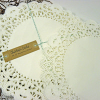 "12"" French Lace doilies Large Paper Round Doilys Qty 25"