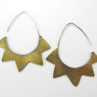 Sunburst Shield Earrings - mixed metal - brass and sterling silver - modern rustic statement - big lightweight - large tribal brass earrings