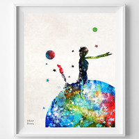 The Little Prince, Print, Le Petit Prince, Stars, French, Watercolor, Poster, Illustration, Nursery, Home Decor, Baby Shower, Gift [NO 696]