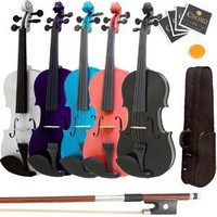 Mendini 4/4 MV300 Solid Wood Violin in Satin Finish with Hard Case, Shoulder Rest, Bow, Rosin and Extra Strings - Full Size: Musical Instruments