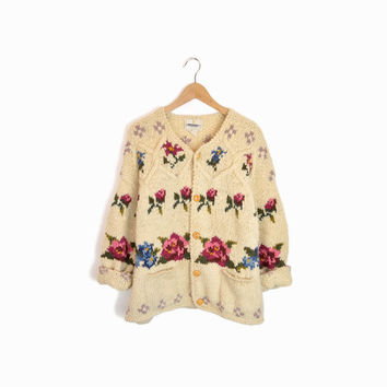 Vintage 90s Handknit Rose Cardigan Sweater in Cream by Express - women's m/l