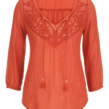 embroidered crinkle peasant top with beaded ties