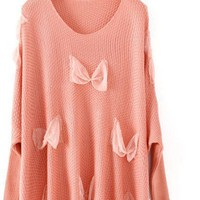 Pink Long Sleeve Lace Bow Pullovers Sweater - Sheinside.com
