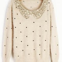 Ivory Vintage Polka Dot Sequins Collar Fluffy Jumper Sweater - Sheinside.com