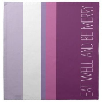 Eat Well & Be Merry, pink and violet cloth napkins (4 napkins!)
