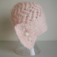 Blush Pink Cloche Madame Coco Knit Hat Boho Romantic Vintage Style