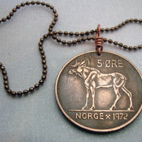 Coin Jewelry - Viking - Vintage Norse MOOSE COIN NECKLACE - Norway - Elk - Scandinavian - moose necklace - moose ornament