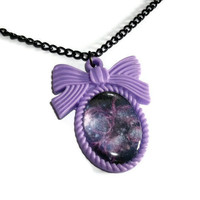 Purple Space Necklace, Nebula Cameo Necklace