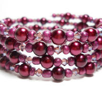 Wrap Bracelet Deep Burgundy Pearl Memory Wire Bracelet