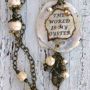 The World Is My Oyster Necklace Shell Druzy Pendant Graduation Gift
