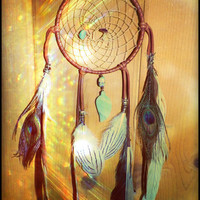 circle of dreams... amazonite, turqouise and amethyst dreamcatcher
