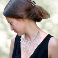 Silver threads of rain. Statement fringe collar choker necklace. Sparkling  fashion jewelry.