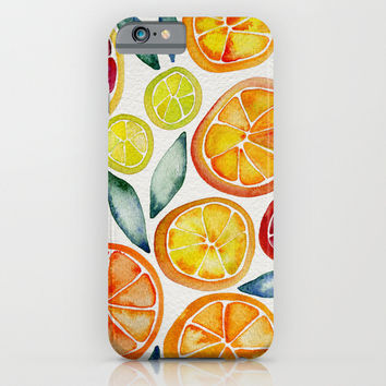 Sliced Citrus Watercolor iPhone & iPod Case by Cat Coquillette