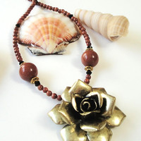 Beaded Brown Goldstone and Brass Flower Pendant Necklace