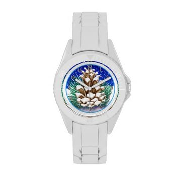 Winter Pinecone Sporty White Women's Watch