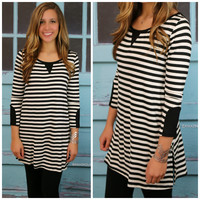 Style Envy Black and White Striped Top