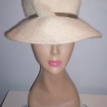 Lovely Vintage Women's Emme Boutique Ivory Wool Dress Hat Corona Body Italy 21