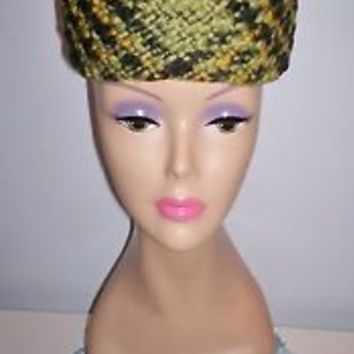 Stunning Vintage Women's Millinery Dress Hat Size 21.5 Elevated Pillbox Lined