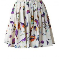 Colorful Bird Print Chiffon Skirt with Stretch Waistband