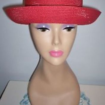 Lovely Women's Red Scala Collection Dress Hat Upturned Brim Size 22.5 Excellent