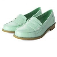 Mint Green Classic Loafers with Cut-Out Belt Front