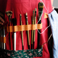 Red and Green reversible Artist and Kitchen apron:  Cotton, for painters, sculptors or drawers who love to cook