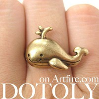 Adjustable Cute Whale Sea Animal Ring in Bronze
