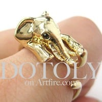 Miniature Elephant Animal Wrap Ring in SHINY Gold - Size 5 to 10