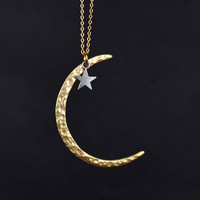 gold plated matte crescent moon necklace