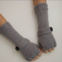 Silver Gray Wrist Warmers With Strap/Button Detail by kareknits