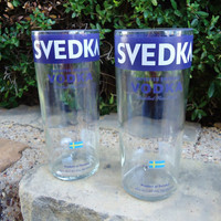 Recycled Svedka Vodka Bottle Drinking Glasses Set of 2