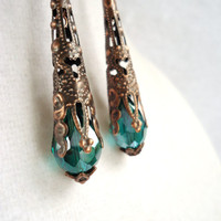 Teal Crystal Long Copper Cone Earrings