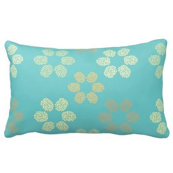 Customizable geometric flowers pattern | Elegant turquoise lumbar pillow