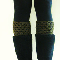 Boot accessories, boot cuffs, boot topper, leg warmers, green, army green, fall, winter, autumn, spring