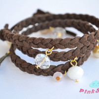 Triple Wrap Braided  Suede Brown Charm Bracelet - Handmade by PinkSugArt