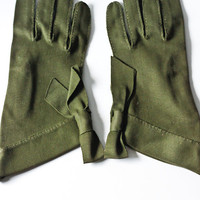 Vintage Gloves - Dark Army Green with Bow Tie Accents
