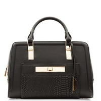 Black Leather Snakeskin Textured Pocket Front Bowler Bag