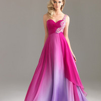 Fuchsia Ombre Chiffon Embellished One Shoulder Sweetheart Prom Dress - Unique Vintage - Homecoming Dresses, Pinup &amp; Prom Dresses.